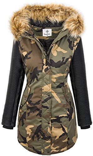 Rock Creek Damen Winter Jacke Parka Camouflage Mantel Army Jacke Bikerjacke Winterjacken Outdoorjacke Damenmantel Kunstleder Ärmel Kapuze D-349 Khaki M