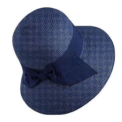 Siggi Femme Chapeau de Paille Pliable Capeline Tresse Été Fedora Pare-Soleil Large Bord Plage Voyage Bleu Marine