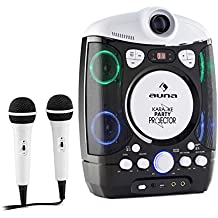 auna Kara Projectura Equipo de karaoke con proyector (show de luces LED sensible a la música, 2 micrófonos, CD, USB, AUX, función eco) - negro/gris