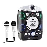 auna Kara Projectura Karaoke Anlage für Kinder (2 x Mikrofon, Projektor, LED-Lichteffekt, CD-Player, USB-Anschluss, MP3, Video-Ausgang, Audio-Ausgang) schwarz-grau