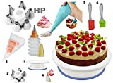 #8: Cake Decoration Tools Set Decorating Turn Full Rotating Round Table with accessories (hpk-bdjk5)