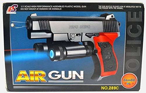 Babytintin Red and Blue Laser Air Gun with 6mm BB 1:1 Scale High Performance Assembled Plastic Model Gun for Kids (289C)