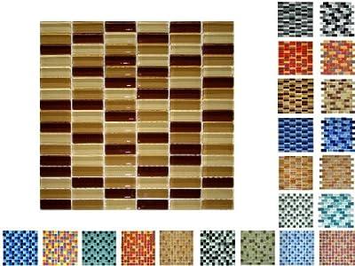 1 Netz Glasmosaik Sticksize Glanz Braunmix von Mosaikdiscount24 auf TapetenShop