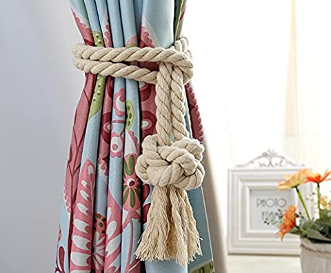 Fittoway A Pair of Hand Knitting Curtain Rope Cord Natural Tassel Curtain String Tying Lace Tiebacks European Countryside Style Creamy-white