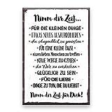 Holzschild mit Spruch – NIMM DIR ZEIT – im Vintage-Look mit Zitat als Geschenk und Dekoration zum Thema Liebe und Achtsamkeit von Typestoff (19,5 x 28,2 cm)