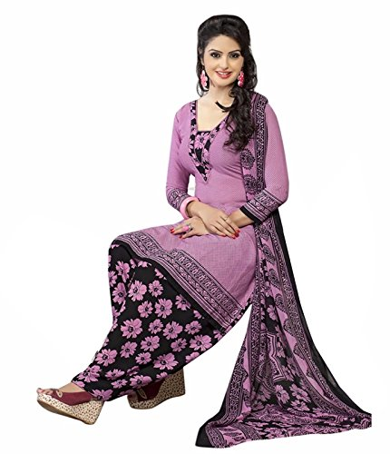 Ishin Synthetic Purple Printed Party Wear Wedding Wear Casual Daily wear Festive Wear Bollwood Latest Design Trendy Unstitched Salwar Suit Dress Material (Anarkali/Patiyala) With Dupatta