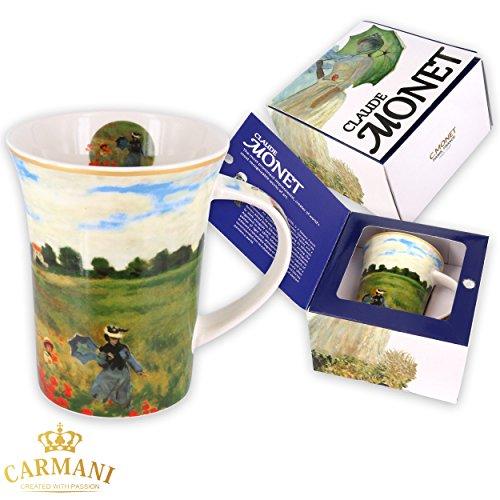 CARMANI - Kaffeetasse oder Teebecher aus Porzellan mit Monet 'Mohnblumen' 250 ml
