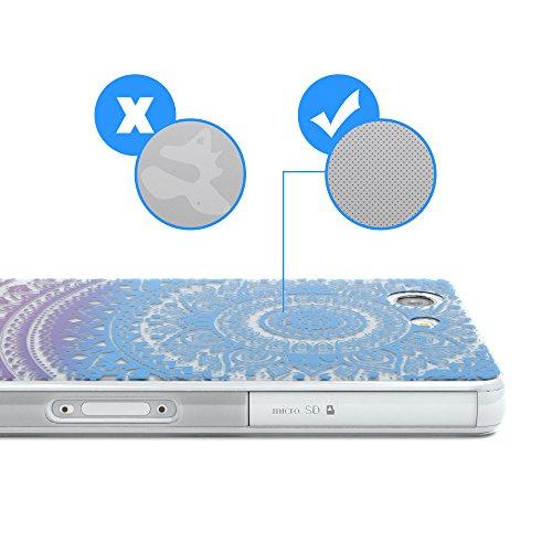 """EAZY CASE Handyhülle für Sony Xperia Z3 Compact Hülle - Premium Handy Schutzhülle Slimcover """"Clear"""" hochwertig und kratzfest - Transparentes Silikon Backcover in Klar / Durchsichtig Henna Blau / Pink"""