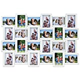 Multistore 2002 Fotorahmen Bilderrahmen 86x58x2,5cm für 24 Fotos im Format 10x15cm, Weiß, Bildergalerie Fotogalerie Fotohalter