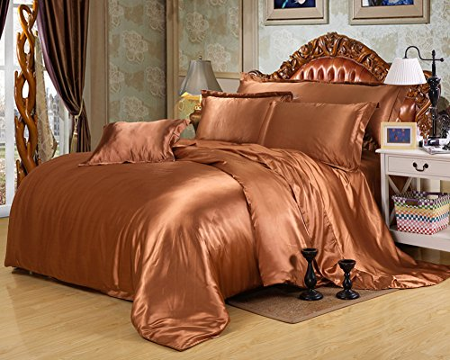 Pure Color Generic Satin Luxus Seide Bettdecke Bettbezug Set Bettwäsche Sets enthalten 1 Bettbezug 1 Bettlaken 1 Kopfkissenbezüge, camel, Single: 150x200CM -