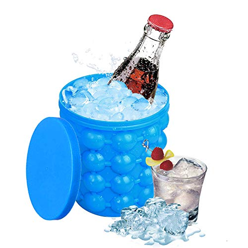 BestCatgift Ice Cube Maker Silicone Bucket with Ice Cube Tray and Lid Space Saving - Blue Ice Ice Cube Trays