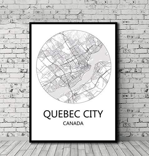 UDIYXC Schwarz-Weiß-Stadtplan Vancouver Toronto Montreal Kanada Poster Leinwand im nordischen Stil Wohnkultur ohne Rahmen, 40x50cm
