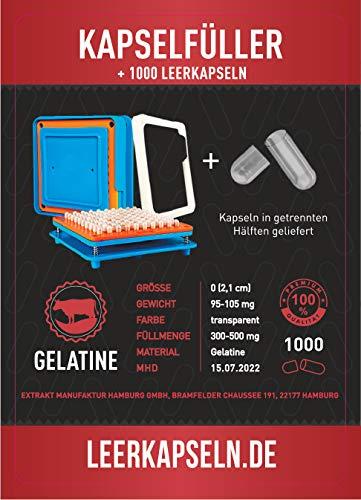 Kapselfüller + 1000 Leerkapseln | Platz für 100 Kapseln | Größe 0 | getrennte Kapselhälften...