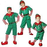 feiXIANG Unisex Adulto Bambini Elfo di Natale Donna Ragazza Costume con Cappello Santa's Costume Natalizie Fancy Dress Cosplay Set 4 Pezzi Bambina Bambino Calze Pantaloni Top (Ragazzi, 155-160CM)