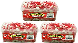 Swizzels Matlow Fun Gums Strawberry Mix Sweets 525 g (Pack of 3)