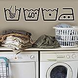 Lifemaison Simboli della Lavatrice Wall Signs Stickers Art Decor Rimovibile Murale Decal Fashion Design DIY per Lavanderia Home Decoration 1Pcs