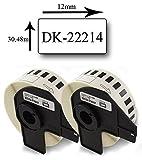 Bubprint 2 Etiketten kompatibel für Brother DK-22214 für P-Touch QL1050 QL1060N QL500 QL500BW QL550 QL560 QL570 QL580N QL700 QL710W QL720NW QL810W
