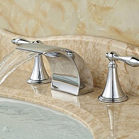 azos Badezimmer Vanity Waschbecken Wasserhahn 3-Loch 2Griffe breitgefächert Messing Chrom