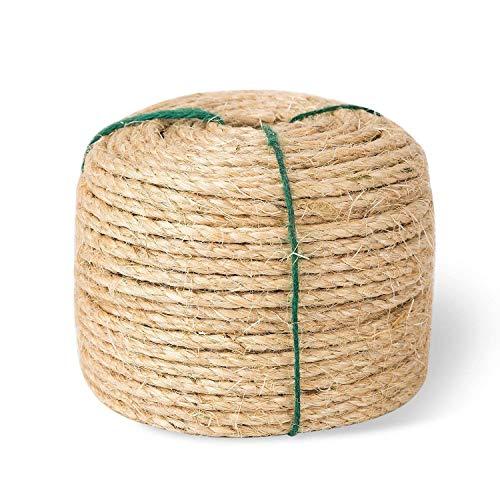 Yangbaga Natural Sisal Seil 6mm Ersatz Alte DIY Zubehör String ideal für den Austausch Katze Baum Griffoir (50M)