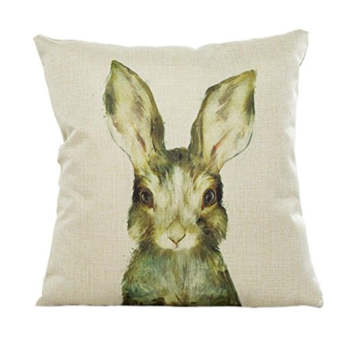 51cL1edXSJL - BEST PET STORE Omiky® 18 x 18Inches Cute Animal Square Throw Pillow Cover Case,Flax Cushion Sheel (Begie Rabbit) PRICE Review UK