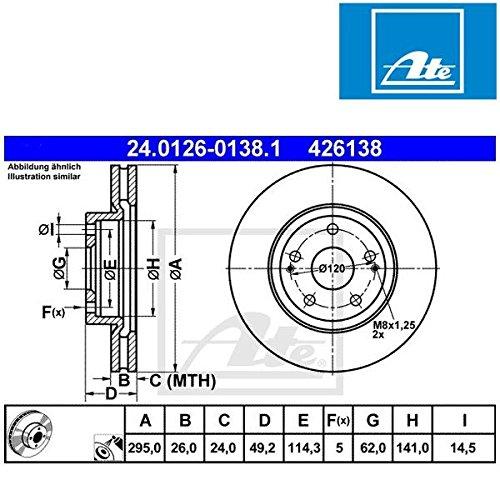 Preisvergleich Produktbild ATE 24012601381 Bremsscheibe - (Paar)