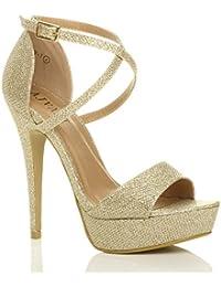 Donna tacco alto scarpe punta aperta sandali piattaforma festa taglia 4 37 w14kRgE