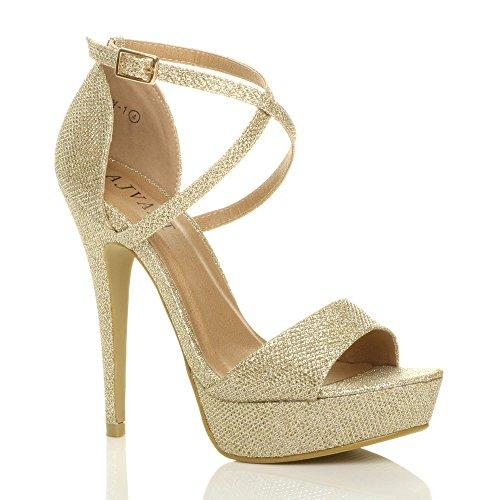 Donna tacco alto fibbia cinturini incrociati scarpe punta aperta sandali taglia Oro scintillio