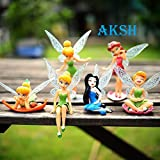 #5: AKSH 6-Piece Tinker Bell Fairy Princess Action Figures Toy Set for Kids (Multicolor) (6 Fairy Dolls New)