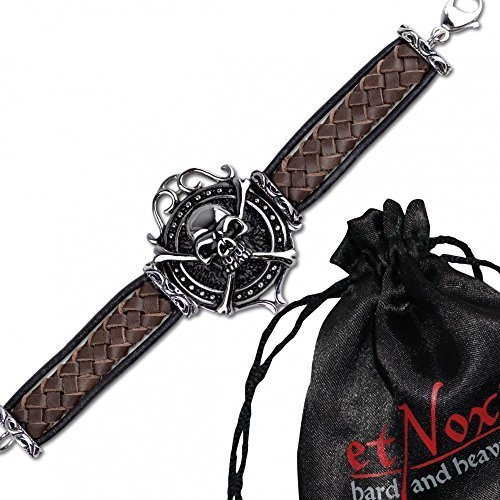 "etNox-Bracciale ""Big skull on woven Leather"" 20 cm, in acciaio inox"