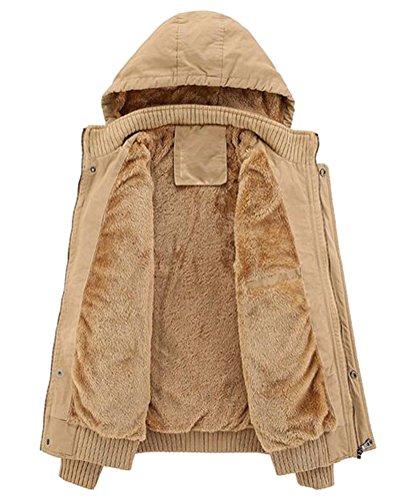 Ghope Homme Manteau Hiver Doublure Coton Epais Capuche Type Casual Vste épaisse Parka Outwear Blazer Kaki