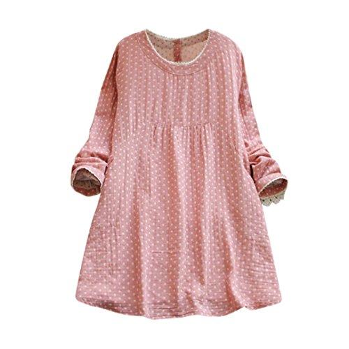 Damen täglich beiläufige Lose Baumwolle Leinen Dot Langarm Club Party Minikleid