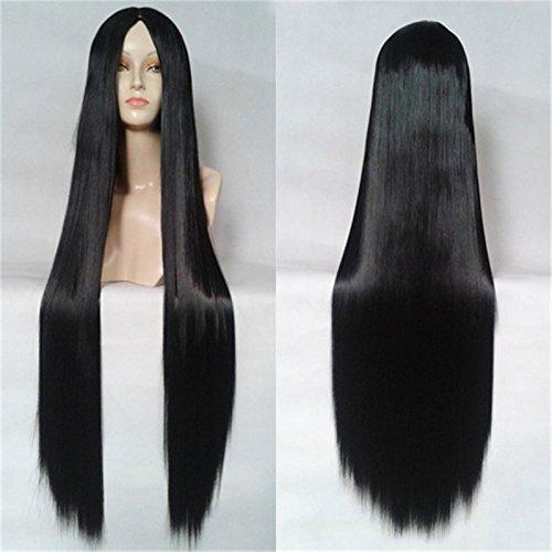 XY Fancy Damen lange gerade Haar ohne Pony Cosplay Perücke Kunsthaarperücke 100cm, Schwarz