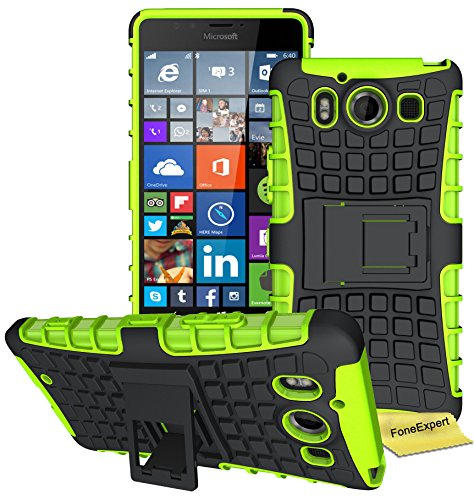 Microsoft Lumia 950 Handy Tasche, FoneExpert® Hülle Abdeckung Cover schutzhülle Tough Strong Rugged Shock Proof Heavy Duty Case für Microsoft Lumia 950 + Displayschutzfolie (Grün)