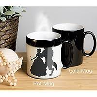 Beauty and The Beast Mug. Tasse changeante de couleur. L'image apparaît lorsque la tasse est chaude. Tasse de café, tasse de thé, tasse de thé