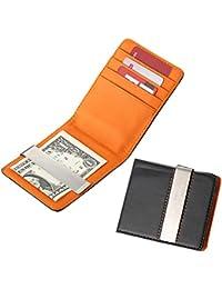 MGS Pinzas para Billetes Billetera Money Clip Wallet Grabado Personalizado 4 Titular de la Tarjeta de cr¨¦dito Acero Inoxidable De Cuero Artificial Negro Plata Regalo del Negocio