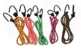 Glamio High Strength Elastic Bungee / Shock Cord Cables, Luggage Tying Rope With Hooks, Set Of 5