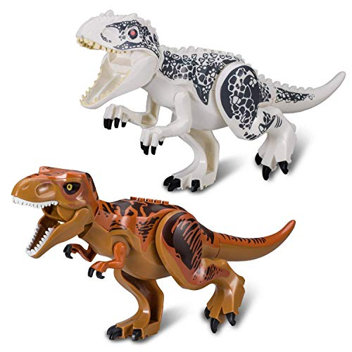 Tyrannosaurus rex,2 x Jurassic World Vivid Large-Scale Dinosaurs Brick Blocks,2 x Dinosaur Toy Building Blocks. (GS01) ()
