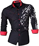 Jeansian Camisas de Hombres Mangas Largas Moda Men Shirts Slim Fit Causal Long Sleves Fashion Z030 Black M