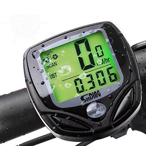 Multifunktional Fahrrad Computer, kabellos Wasserdicht Tacho Kilometerzähler mit LCD-Display Motion Sensor für Outdoor Radfahren Echtzeit Speed Track–schwarz