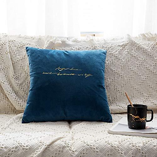 BSHOP Kissen Besticktes Samtkissen Nordic Velvet Moderne einfache Sofa Rückenkissen Auto Kissenhülle grünen Rucksack, 45x45 cm (enthält 7D hochelastischen Baumwollkern), dunkelblaue englische Buchsta