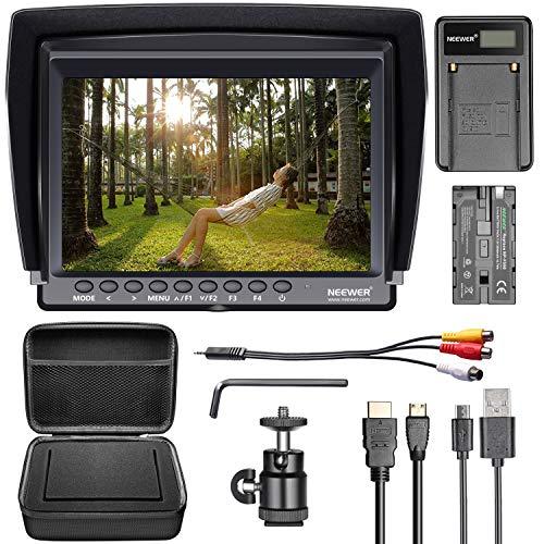 Neewer NW759 Moniteur de Caméra 7 Pouces Ultra HD 1280x800 IPS Ecran avec F550 Batterie, Micro USB Chargeur de Batterie, Etui pour Sony Nikon Olympus Pentax Panasonic