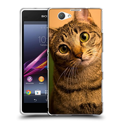 Just Phone Cases Schutz Hülle TPU Case Schutzhülle Silikon Tasche Dünn Transparent // V00004243 Green-Eyed Katze überrascht // Sony Xperia Z1 Compact D5503 (Katze Green Eyed)