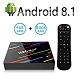 4G 64G TV Box Android 8.1 H96 MAX+ Smart TV Box 4GB RAM & 64GB ROM, RK3328 Quad-Core,4K*2K UHD H.265, HDMI,WiFi 2.4/5.0GHz,Android Set-Top Box