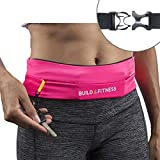 Running Belt, Fully Adjustable Fastener, Fitness Waist Belt, Key Clip. Fits iPhone 7 plus, Unisex, Suitable for Running, Cycling, Walking, Jogging, Gym, Traveling, Outdoors (Hot Pink)
