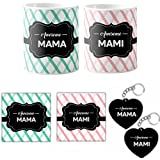 Special Anniversary Gift Hamper,awesome Mama Mami Ji, Gifts For Indian Uncle Aunt, Printed Gift Combo Set Of 6-2 Coasters, 2 Keychains, 2 Mugs