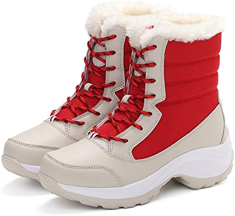 ZHZNVX HSXZ Zapatos de Mujer Invierno Tejido Cuero de Nubuck Forro Pelusas Confort Botas Botas de Nieve Redonda...