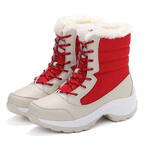 HSXZ Scarpe da donna in pelle Nubuck tessuto Fluff invernale Fodera comfort Snow Boots stivali Flat Round Toe punta chiusa Mid-Calf stivali merletto di cucitura White