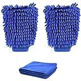 Gant Microfibre,Valenth Auto Wash Microfiber mitt Gants pour le nettoyage de voiture - 1 Paire Blue