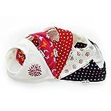 Lovjoy Baby Dreieckstuch Halstuch Lätzchen - 5er Pack - mit Justierbarem Druckknöpfen für Jungen Mädchen Kleinkinder – 0-3 Jahre - Wasserdicht vlies Auskleidung - Beste Babygeschenk (Schön Baumblüte)