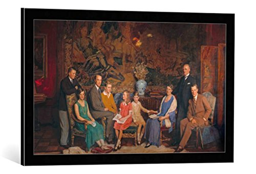 Kunst für Alle Image encadrée: George Simon Harcourt Gustav Krupp Von Bohlen and Halbach Family Portrait - Impression d'art décorative, en Cadre de Haute qualité, 80x45 cm, Noir/Bord Gris